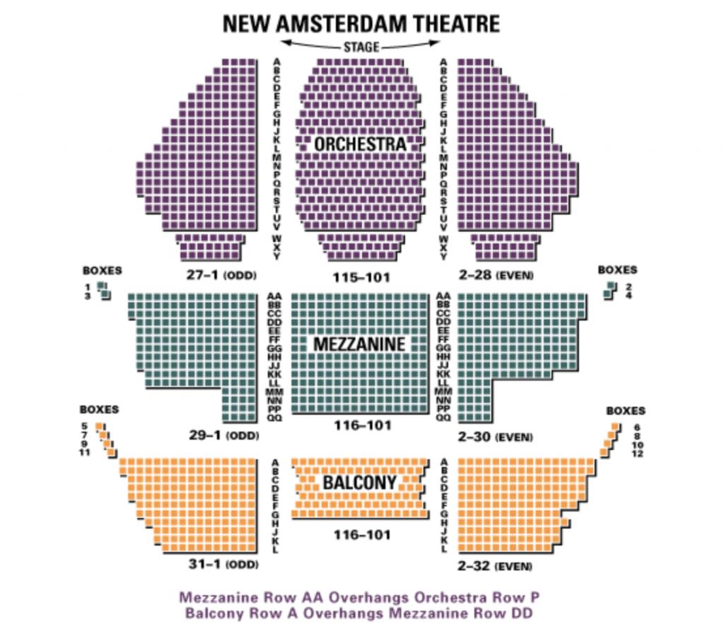 ニュー・アムステルダム劇場の座席表