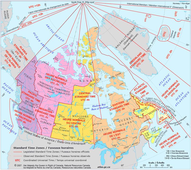 カナダのタイムゾーン