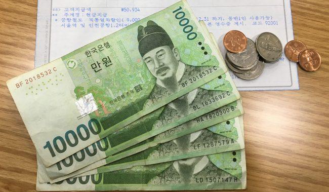 韓国の通貨・ウォンの画像